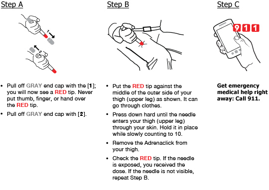 visual administration instructions for epinephrine auto-injector